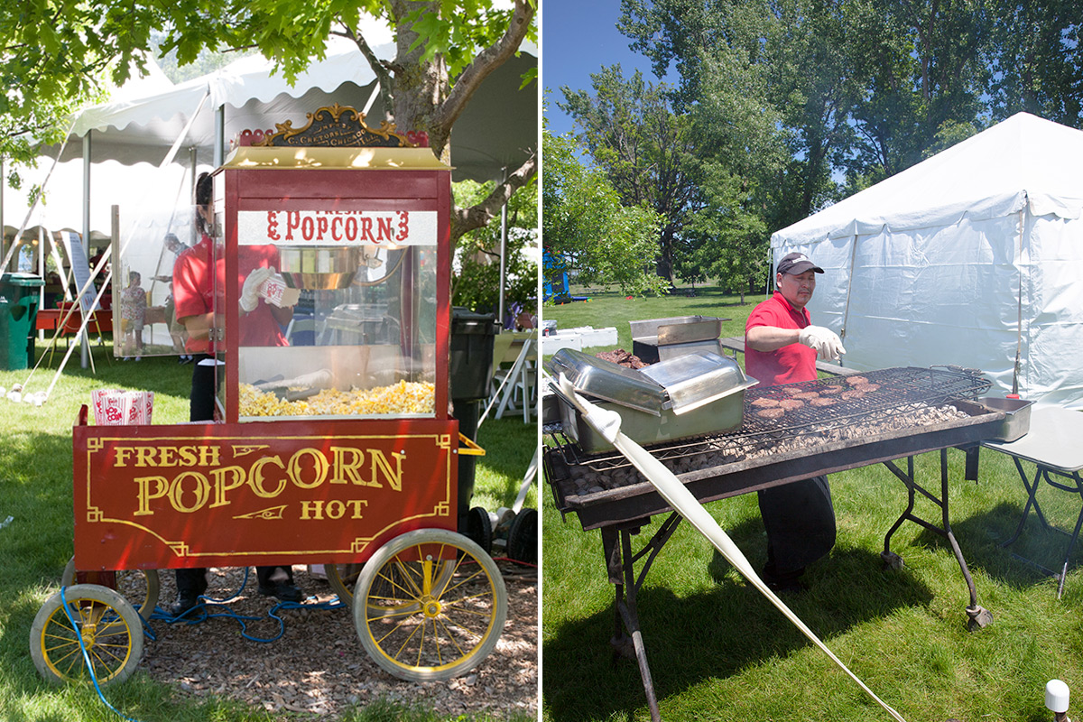 Pop corn and hamburger/hot dog stations